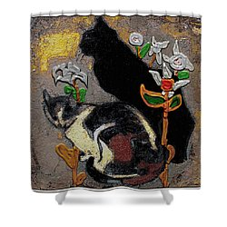 Shower Curtain featuring the mixed media Cats by Pemaro