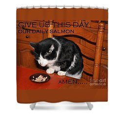 Cat's Prayer Revisited By Teddy The Ninja Cat Shower Curtain
