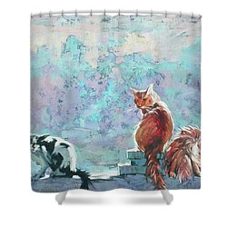 Cats. Washed By Rain Shower Curtain