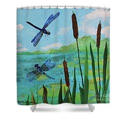 Cattails And Dragonflies Shower Curtain