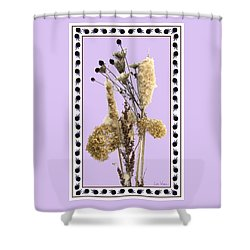 Shower Curtain featuring the digital art Cattails And November Flowers by Lise Winne