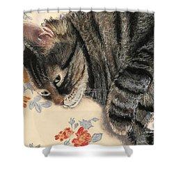 Shower Curtain featuring the painting Cattitude by Anastasiya Malakhova