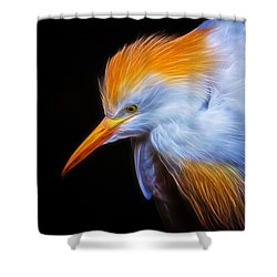 Cattle Egret Electrified Shower Curtain by David Gn