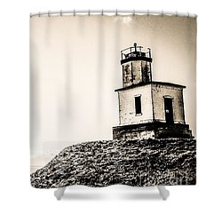 Cattle Point Lighthouse Shower Curtain by William Wyckoff