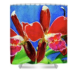 Cattleya Orchids Flowers #215 Shower Curtain by Donald k Hall
