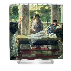 Catullus Reading His Poems Shower Curtain by Sir Lawrence Alma Tadema