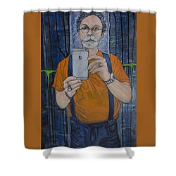 Shower Curtain featuring the painting Caught In The Act Of Growing Old Self Portrait by Ron Richard Baviello