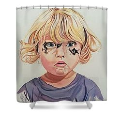 Shower Curtain featuring the painting Caught With A Makeup-mess-mila by Kevin F Heuman