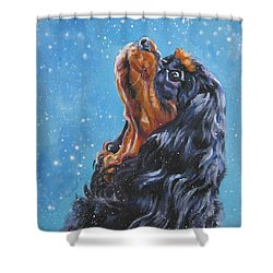 Cavalier King Charles Spaniel Black And Tan In Snow Shower Curtain