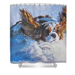 Cavalier King Charles Spaniel Blenheim In Snow Shower Curtain by Lee Ann Shepard