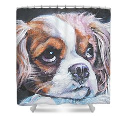 Cavalier King Charles Spaniel Blenheim Shower Curtain by Lee Ann Shepard