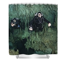 Cave Divers In Dreamgate Cave System Shower Curtain by Karen Doody