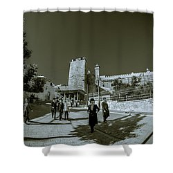 Cave Of The Patriarchs Back Yard Shower Curtain