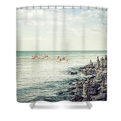 Shower Curtain featuring the photograph Cave Point Rock Formations by Joel Witmeyer