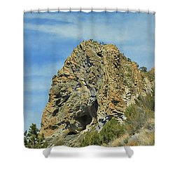 Shower Curtain featuring the photograph Cave Rock At Tahoe by Benanne Stiens