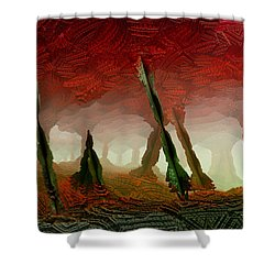 Shower Curtain featuring the digital art Cavern by Matt Lindley