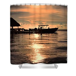 Shower Curtain featuring the photograph Caye Caulker At Sunset by Lawrence Burry