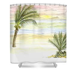 Shower Curtain featuring the digital art Cayman Beach by Darren Cannell