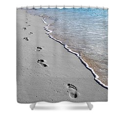 Cayman Footprints Color Splash Black And White Shower Curtain by Shawn O'Brien
