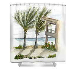 Shower Curtain featuring the digital art Cayman Hotel by Darren Cannell