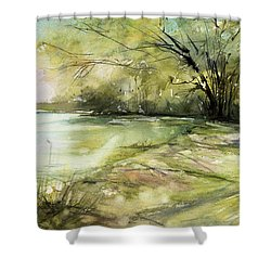 Caz Lake Rest Stop Shower Curtain by Judith Levins