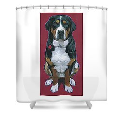 Shower Curtain featuring the painting Cece by Nadi Spencer