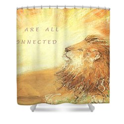Shower Curtain featuring the drawing Cecil The Lion by Denise Fulmer