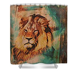 Shower Curtain featuring the digital art Cecil The Lion by Kathy Kelly