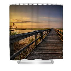 Cedar Beach Pier, Long Island New York Shower Curtain