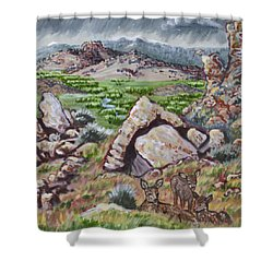 Shower Curtain featuring the painting Cedar Breaks View With Mule Deer by Dawn Senior-Trask