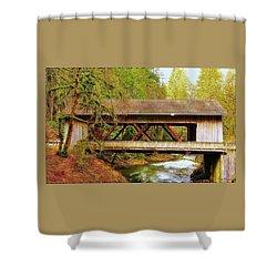 Cedar Creek Grist Mill Covered Bridge Shower Curtain by Steve Warnstaff