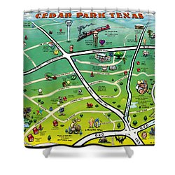 Cedar Park Texas Cartoon Map Shower Curtain by Kevin Middleton