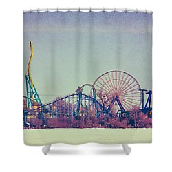 Cedar Point Skyline Shower Curtain by Shawna Rowe