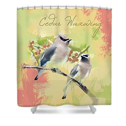 Shower Curtain featuring the photograph Cedar Waxwing Watercolor Photo by Heidi Hermes