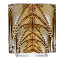 Shower Curtain featuring the photograph Ceiling, Wells Cathedral. by Colin Rayner
