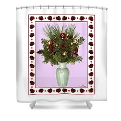 Celadon Vase With Christmas Bouquet Shower Curtain by Lise Winne