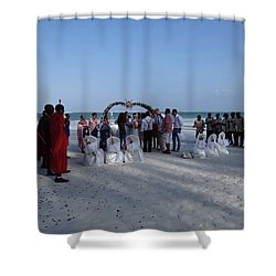 Celebrate Marriage On The Beach Shower Curtain