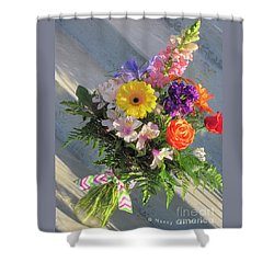 Shower Curtain featuring the photograph Celebrate With A Bright Bouquet by Nancy Lee Moran