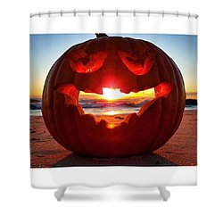 Pumpkin Light Shower Curtain by Lauren Fitzpatrick
