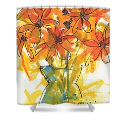 Celebration Of Sunflowers Watercolor Painting By Kmcelwaine Shower Curtain