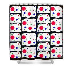 Shower Curtain featuring the mixed media Celebration by Ann Calvo