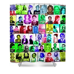 Celebrity Mugshots Shower Curtain by Jon Neidert