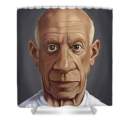Shower Curtain featuring the drawing Celebrity Sunday - Pablo Picasso by Rob Snow