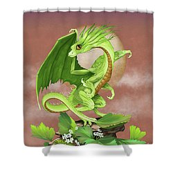 Shower Curtain featuring the digital art Celery Dragon by Stanley Morrison