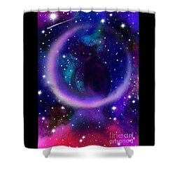 Shower Curtain featuring the painting Celestial Crescent Moon Cat  by Nick Gustafson