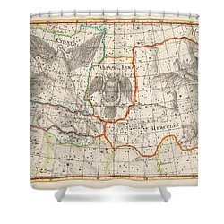 Celestial Map - Map Of The Constellations - Cygnus, Hercules, Lyra - Astronomical Chart Shower Curtain