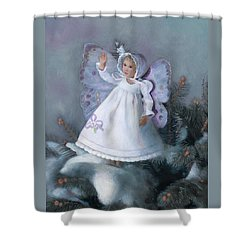 Shower Curtain featuring the painting Celestine Snow Fairy by Nancy Lee Moran