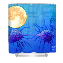 Cell Division Under Full Moon Shower Curtain
