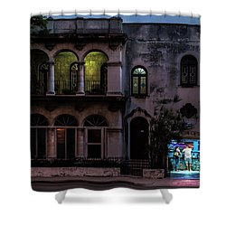 Shower Curtain featuring the photograph Cell Phone Shop Havana Cuba by Charles Harden