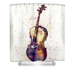 Cello Abstract Watercolor Shower Curtain
